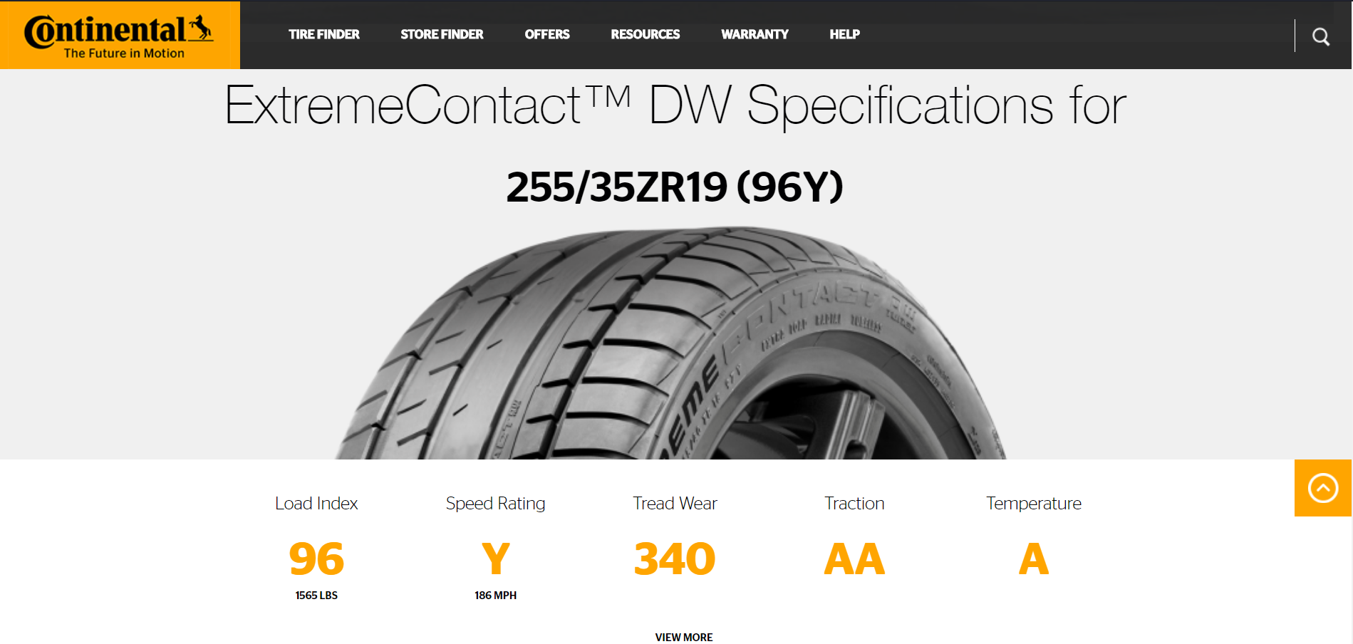 Continental ExtremeContact DW Specs